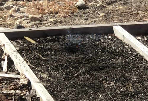 Flames die down quickly in composted mulches